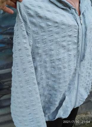 Жатая свободная блуза на молнии с капюшоном батал бохо2 фото