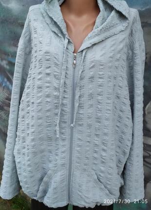 Жатая свободная блуза на молнии с капюшоном батал бохо3 фото