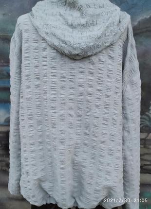Жатая свободная блуза на молнии с капюшоном батал бохо4 фото