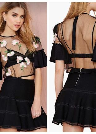 Сетчатая блуза короткая с вышивкой haoduoyi