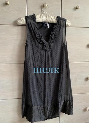 Удлинённая шелковая блуза туника шелк натуральный горошек gap