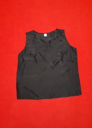 Шелковая базовая черная свободная майка с вышивкой  р 40