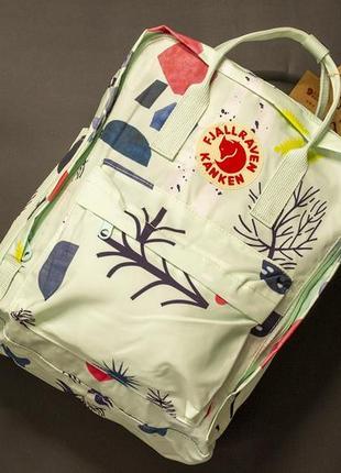 Рюкзак канкен большой, fjallraven kanken big, белый, арт, art, акция, подарок, школьный, шкільний портфель