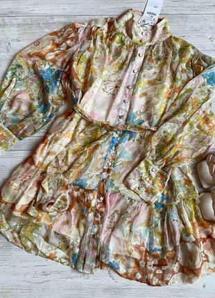 Платье zara свободного кроя цветочный принт