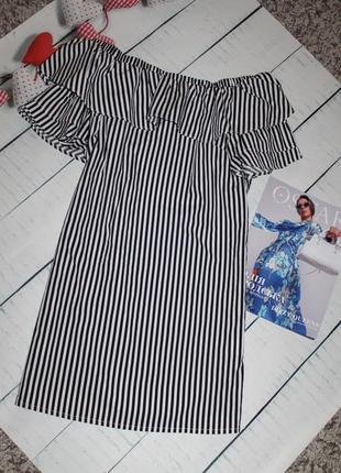 Платье сарафан с открытыми плечами котон в полоску