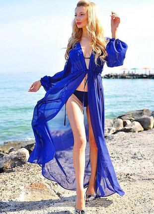 Пляжная туника длинная, накидка на пляж, парео