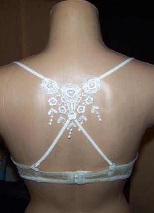 Кружевная спинка-борцовка белая для бюстгальтера1 фото