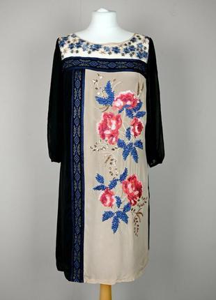 Мonsoon шелковое платье с вышивкой р. uk 10
