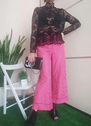 Кружевной костюм комплект брюки кюлоты в пижамном стиле и блуза