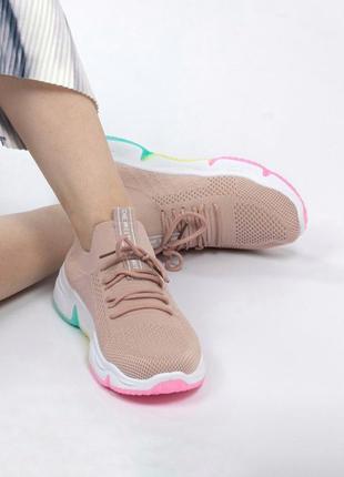 Кроссовки женские розовые пудра текстиль платформа лето vp707