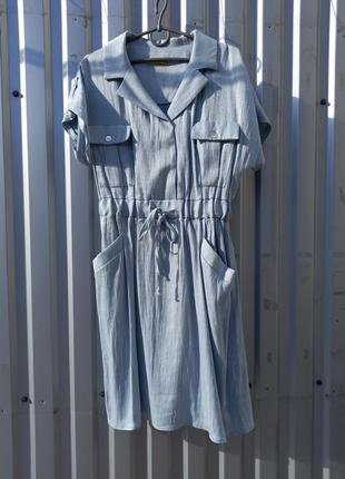 Нежно голубое платье с карманами италия perle donna