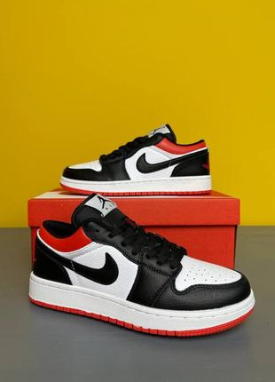 Мужские кроссовки nike air jordan 1 low black/red