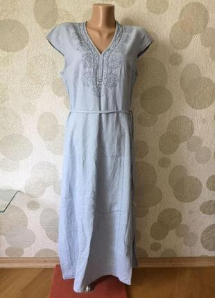 Шикарное длинное  платье туника с вышивкой лен вискоза