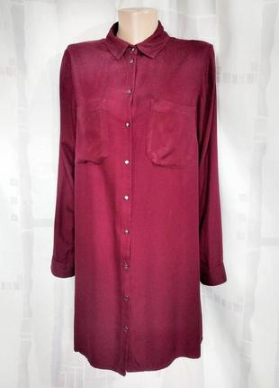 Платье рубашка бордового цвета, 100% вискоза