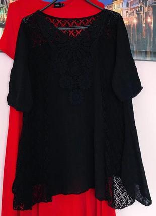 Натуральная легкая блуза с кружевом