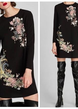 Черное платье zara с вышивкой с рукавом