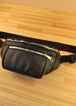 Шкіряна поясна сумка бананка / сумка через плече на пояс / натуральна шкіра / чоловіча жіноча