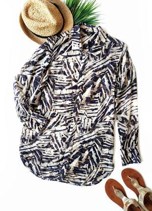 Длинная рубашка из натуральной ткани в анималистический принт next. можно как пляжную.
