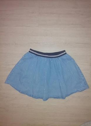 Джинсовая юбочка на девочку с карманами.