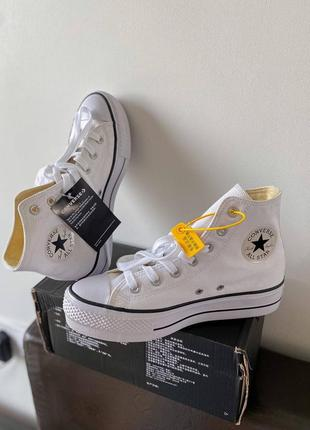 Converse chuck taylor high sole white, женские белые кеды конверс