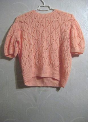 Нежный джемпер футболка вязаный очень мягенький персиковый оранжевый
