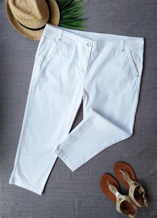 Белоснежные укороченные брюки из хлопка с эластаном wallis.