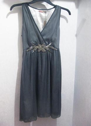 Платье saint tropez с бисером серое нарядное индия