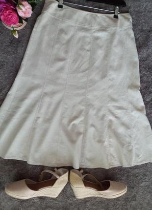 Бежевая юбка , лён+вискоза
