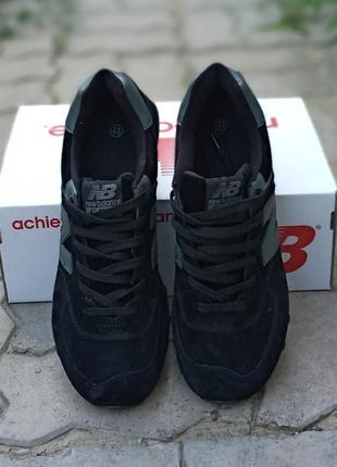 Женские кроссовки new balance 574 черные, замшевые,  осенние4 фото