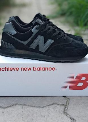 Женские кроссовки new balance 574 черные, замшевые,  осенние1 фото