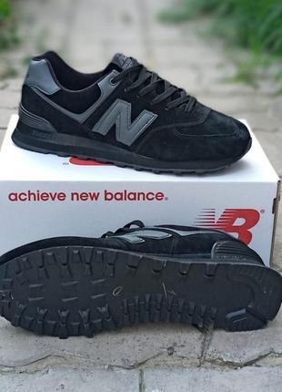 Женские кроссовки new balance 574 черные, замшевые,  осенние3 фото