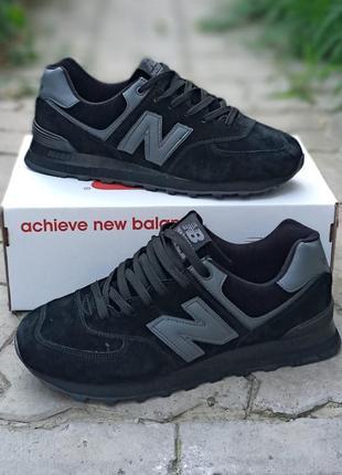 Женские кроссовки new balance 574 черные, замшевые,  осенние2 фото