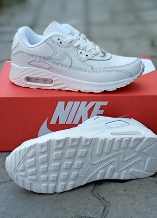 Женские кроссовки nike air max 90 кожаные, белые, осенние