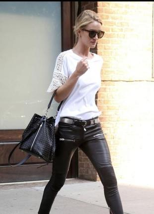 Чёрные кожаные штаны denim co, кожзам, брюки, джинсы
