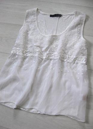 Майка блуза atmosphere белая красивая бисер пайетки