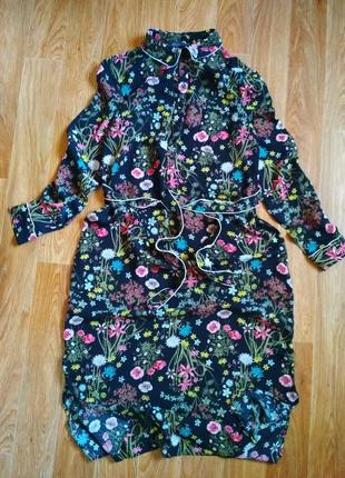 Шикарное платье в рубашка в цветочный принт с поясом