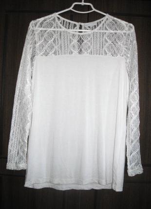 Нежный белый ажурный джемпер блуза ze ze nordic