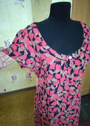 Вискозное легкое фирменное платье jeffrey and paula р.18 (индия)2 фото