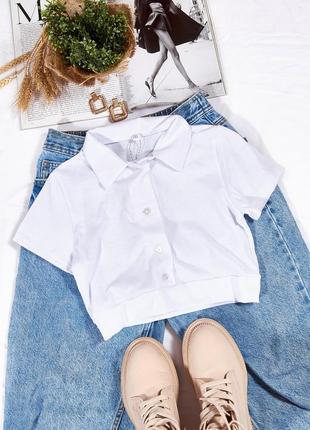 Короткий топ поло, короткая футболка поло, белый топ, топ футболка