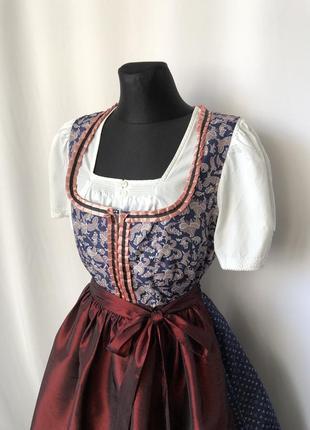 Дирндль октоберфест баварский синий с розовым костюм, фартук бордовый