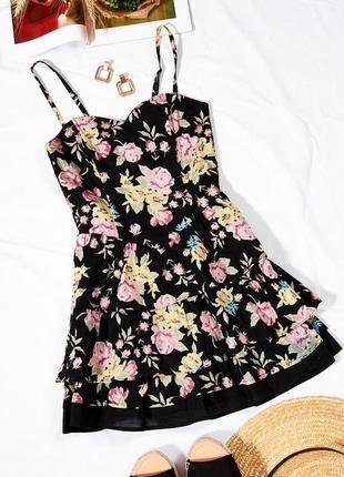 Пышное платье с тонкими бретелями, летний сарафан с цветочным принтом, мини платье, сукня