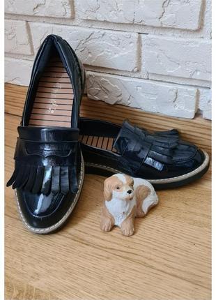 Лаковые кожаные туфли лоферы next мокасины