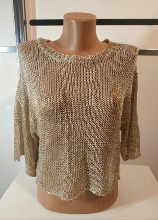 Металлизированый золотой топ свитер