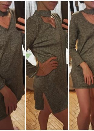 Фирменная туника платье кофта серебро блестящая