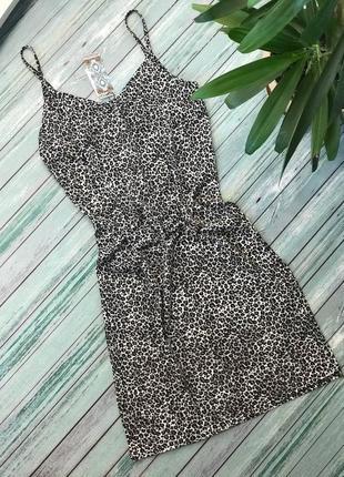 Платье на бретелях / легкое / принт / леопардовый/ с разрезом/ на девушку/ женское
