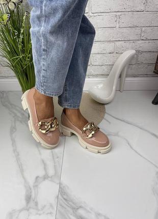 Туфли с цепью натуральная кожа