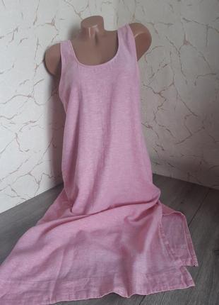 Платье сукня сарафан длинное розовое лён/вискоза,размер 48