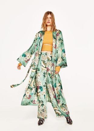 Zara широкие сатиновые атласные палаццо брюки