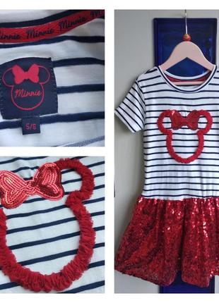 ❤️🐭🎀 красивое нарядное платье в полоску с пайетками на 5-6 лет minnie mouse disney❤️🐭🎀