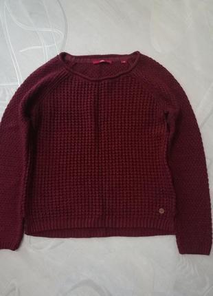 Вязанный трендовый укороченный свободный свитер